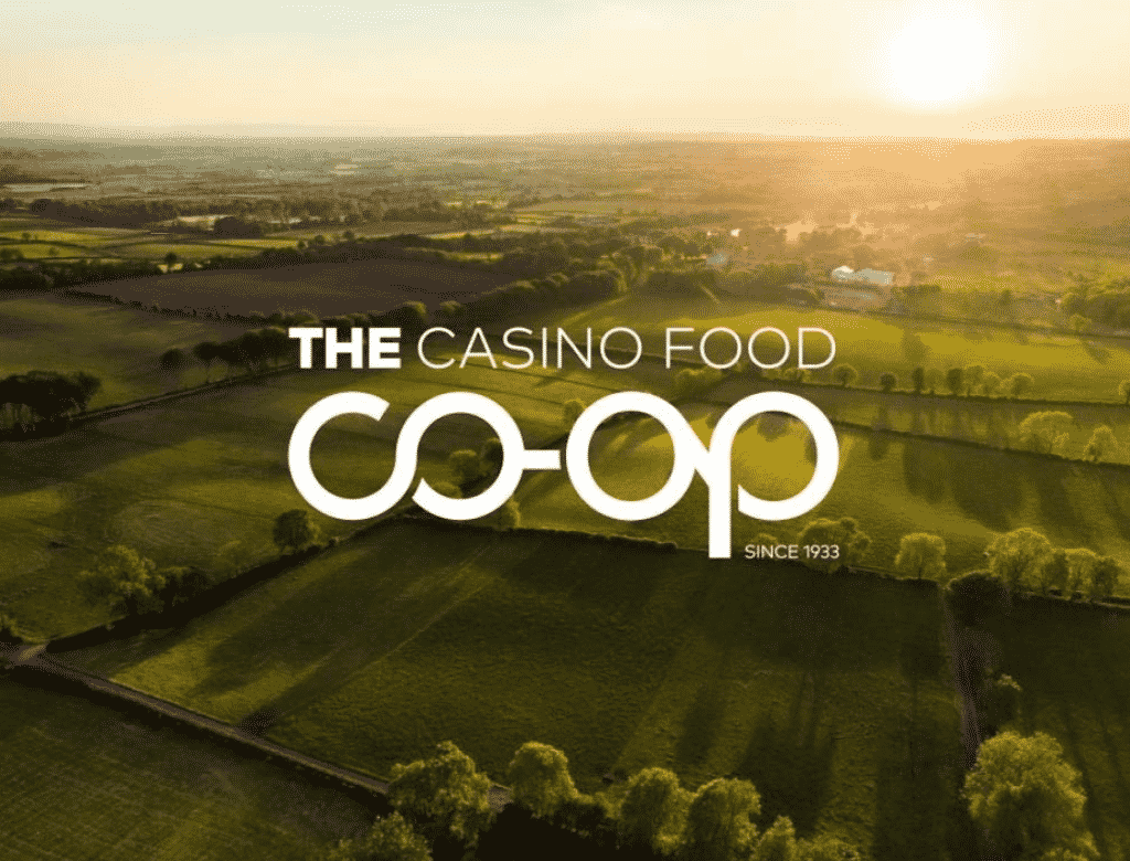 Picture showing Casino Food Co-op logo on farm background